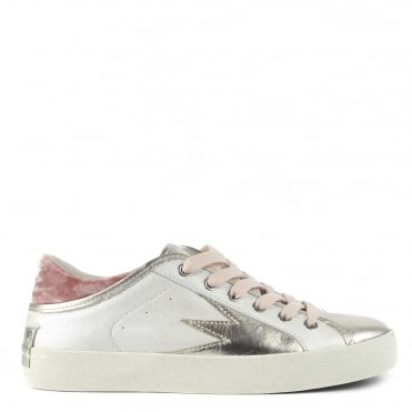 Faith Lo Explosion White With Pink Velvet Trainer
