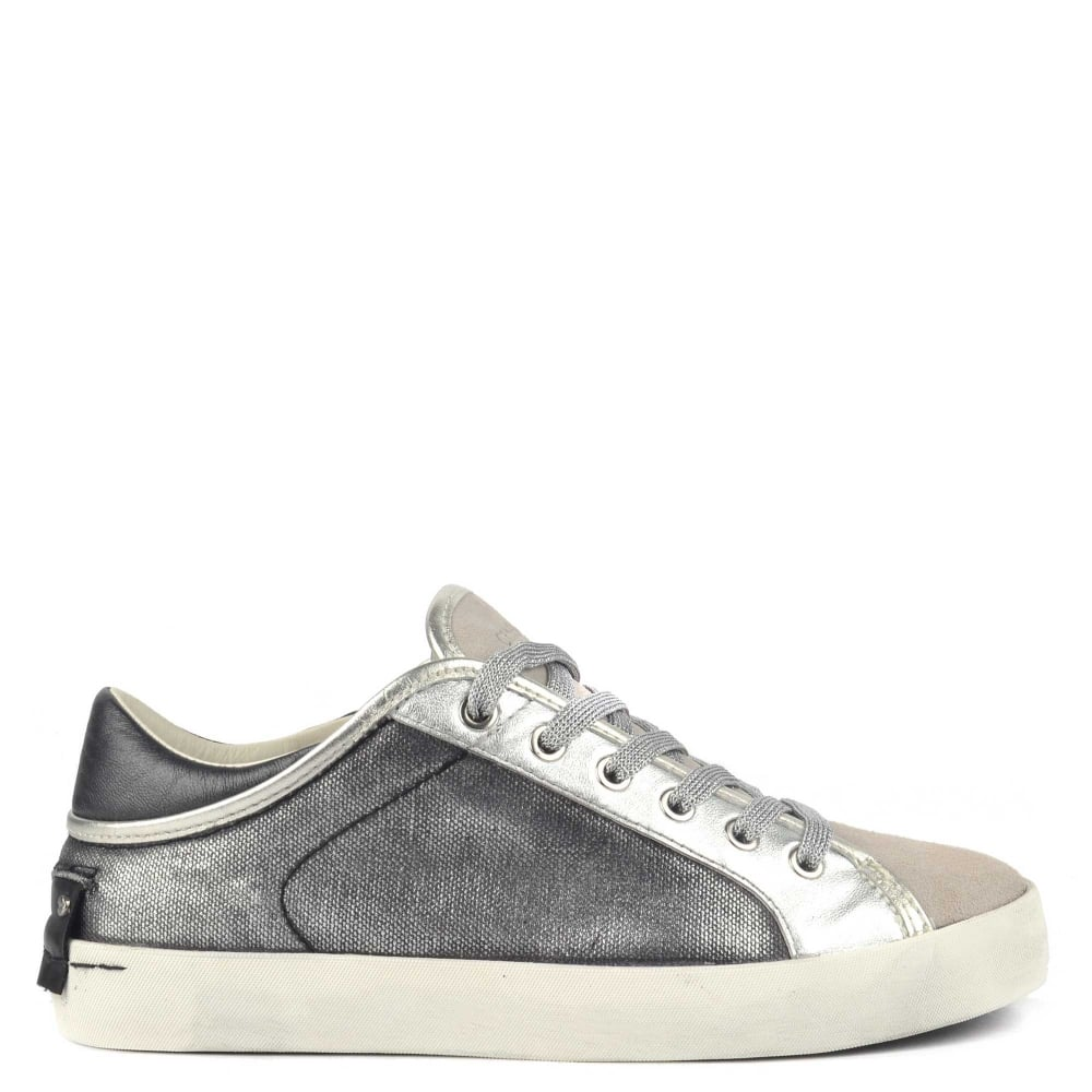 Crime London Faith Lo Gunmetal Canvas Trainer 7bcf645d471