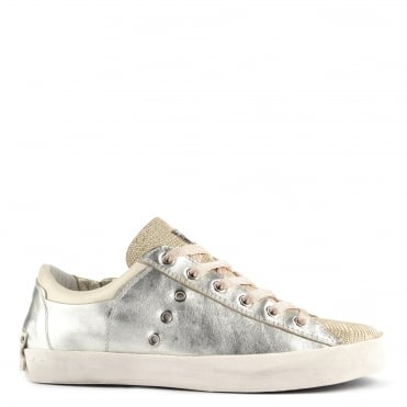 "Faith Platine ""Gold"" Leather Low Top Trainer"