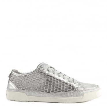 Haz Silver Leather and Glitter Mesh Low Top Trainer