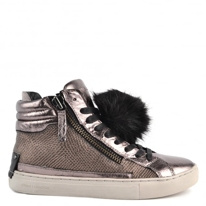 Crime London Java Hi Metallic Pewter With Pom Pom Trainer