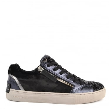 Java Lo Black Velvet and Sequin Trainer