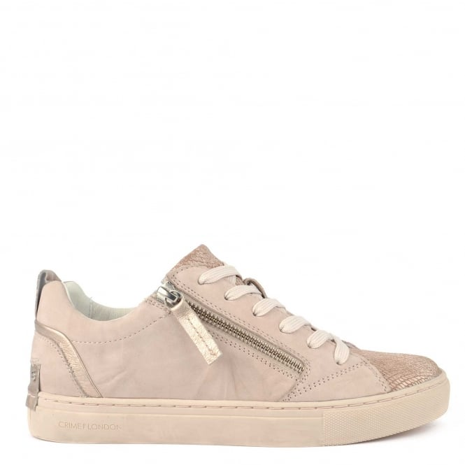 Crime London Java Lo Taupe Leather Trainer