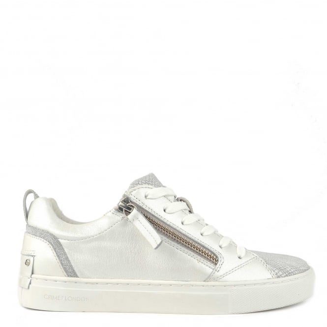 Crime London Java Lo White Leather Trainer