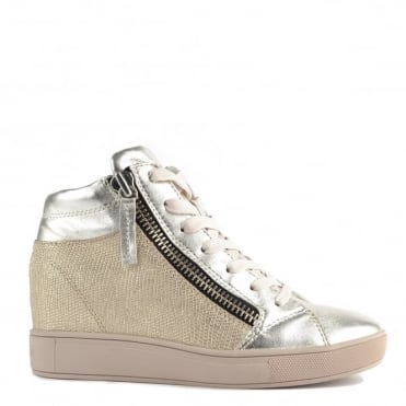 "Java Mid Platine ""Gold"" and Beige Wedge Hi-Top Trainer"