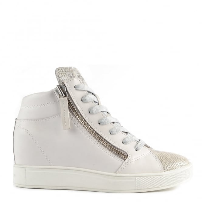 Crime London Java Mid White and Grey Wedge Hi-Top Trainer