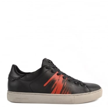 Mens' Beat Black Leather Low Top Trainer
