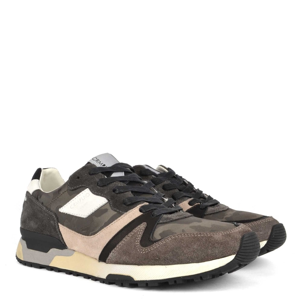 cee2ec2de2dea0 Crime London Mens  ESCAPE Camouflage and Suede Trainer