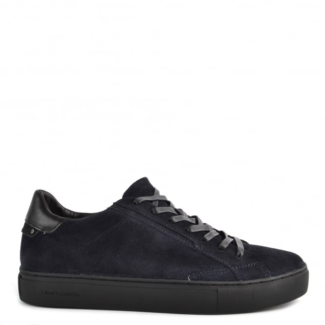 Crime London Mens' Undercover Blue Suede Low Top Trainer