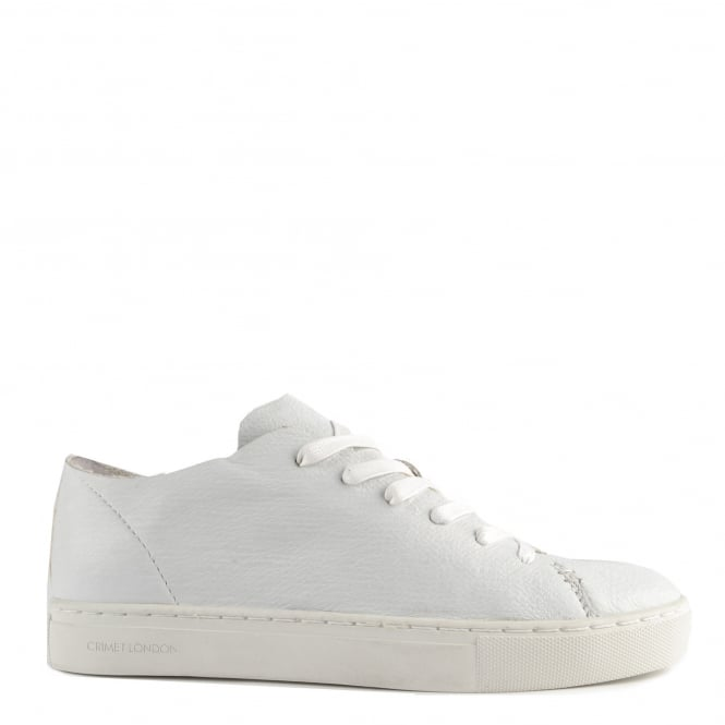 Crime London Raw Lo Edge White Leather Low Top Trainer