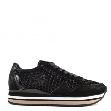 Speed Black Glitter Mesh and Suede Platform Trainer