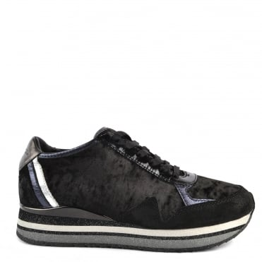 Speed Black Velvet Platform Trainer