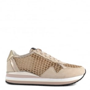 Crime London Speed Gold Glitter Mesh and Suede Platform Trainer