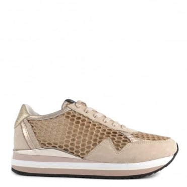 Speed Gold Glitter Mesh and Suede Platform Trainer