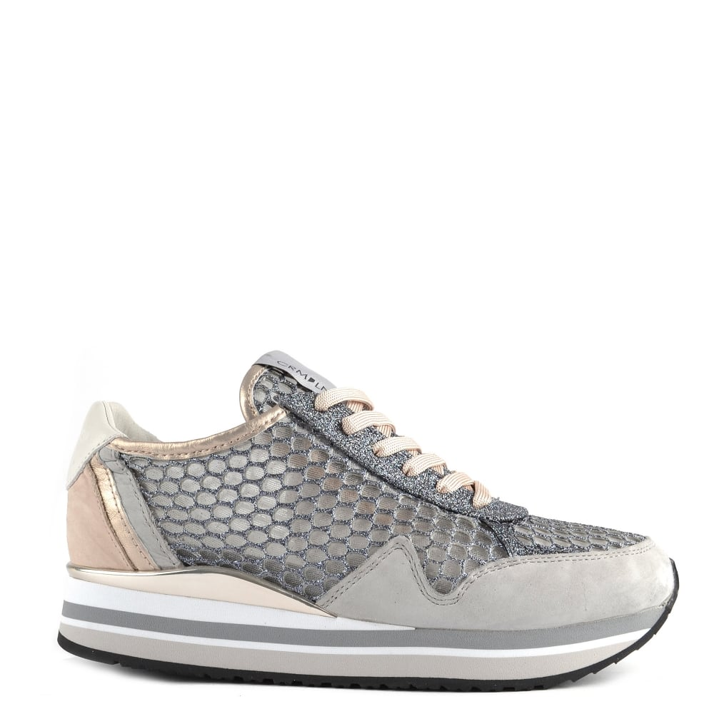 Crime London Speed Grey Glitter Mesh and Suede Platform Trainer dec2cc587c7