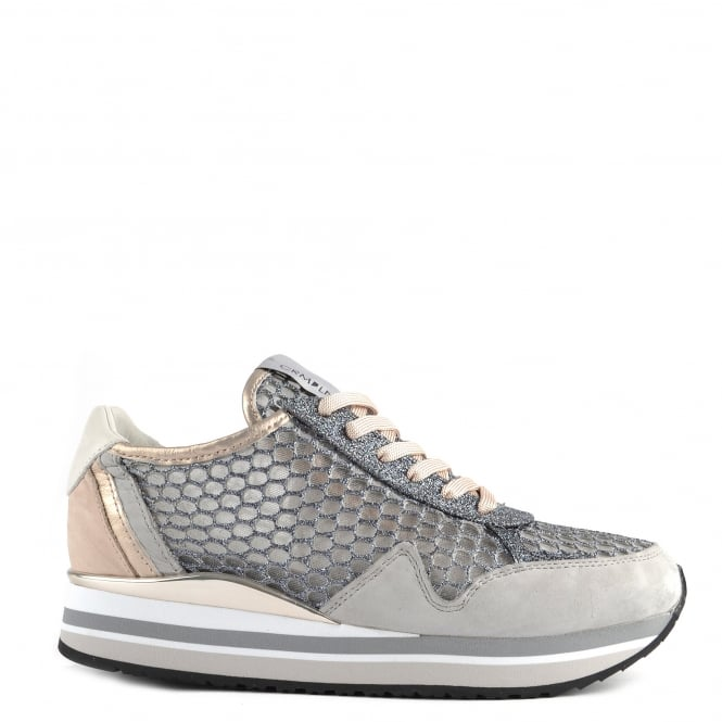 Crime London Speed Grey Glitter Mesh and Suede Platform Trainer