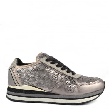 Speed Silver Sequin Platform Trainer