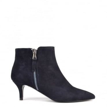 Anna Blue Suede Heeled Boot