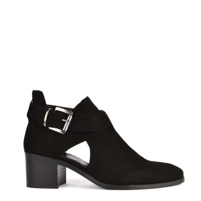 Elia B Shoes Bailey Black Suede Cut Out Ankle Boot