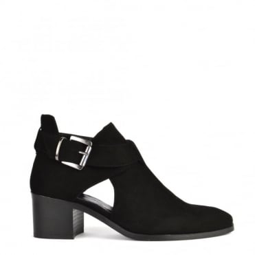 Bailey Black Suede Cut Out Ankle Boot