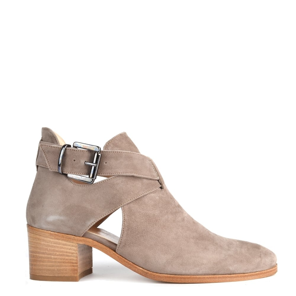 9a2986dfcee7a Elia B Shoes Bailey Kisel 'Taupe' Suede Cut Out Ankle Boot