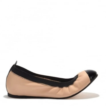Bananas Beige and Black Ballet Flats