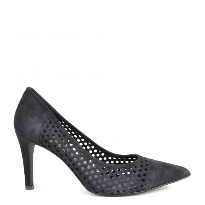 Elia B Shoes Caroline Navy Laser Cut Heeled Pump