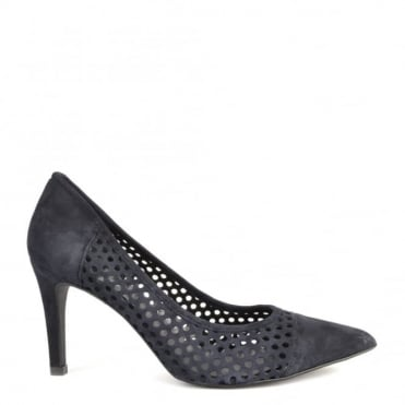 Caroline Navy Laser Cut Heeled Pump
