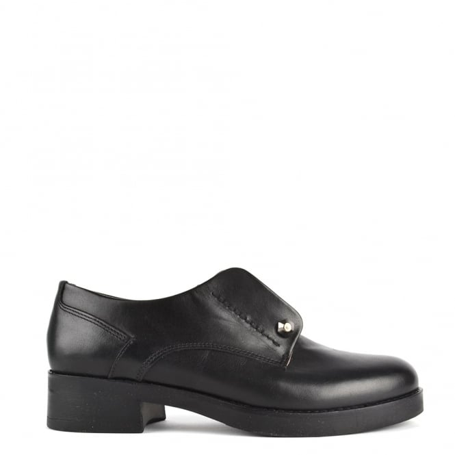 Elia B Shoes Cecil Black Leather Heeled Blucher 'Brogues'