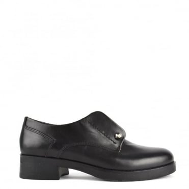 Cecil Black Leather Heeled Blucher 'Brogues'