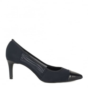 Charlotte Navy Mesh Heeled Pump