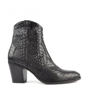 Duel Black Python Embossed Ankle Boot