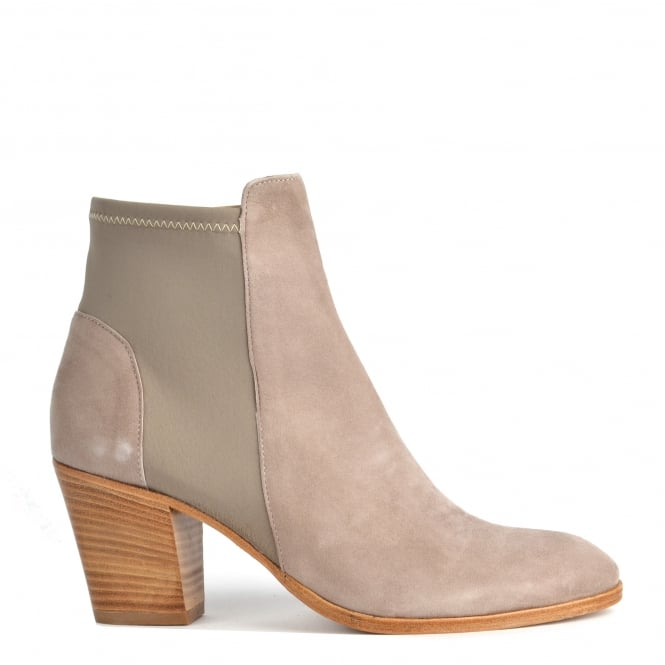 Elia B Shoes Elastic City Taupe Stretch Ankle Boot