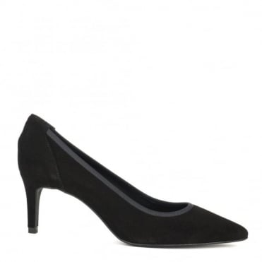Eloise Black Suede Heeled Pump