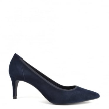 Eloise Navy Suede Heeled Pump