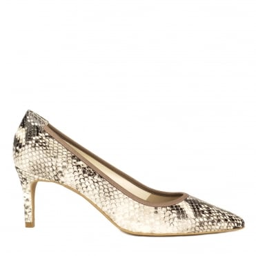 Eloise Python Embossed Heeled Pump