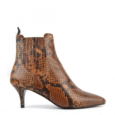 Fop Tan Python Effect Heeled Boot