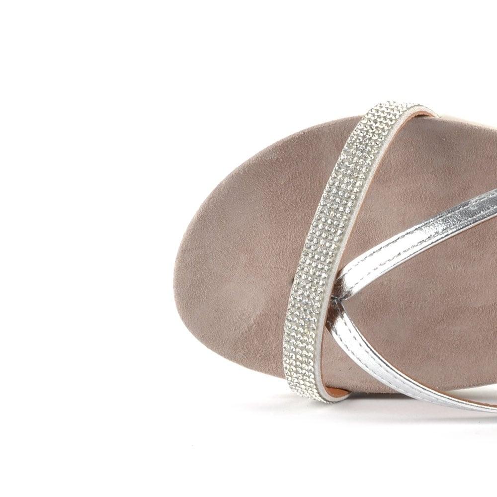 0e6273929 Elia B Glitzy Silver Flat Sandal