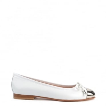 Golden Eye White & Silver Ballet Flat