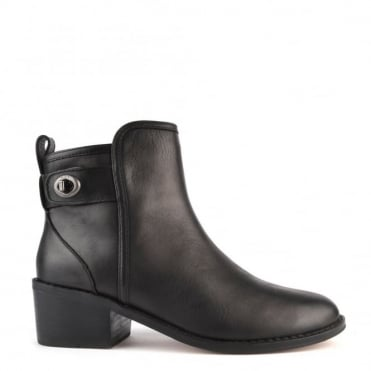 Hattie Black Heeled Ankle Boot