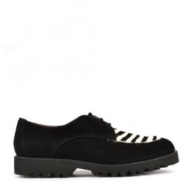 High Tied Black And Zebra Lace Up Shoes