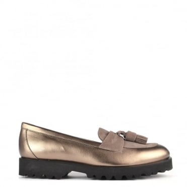 High Track Bronze Leather Track Loafer