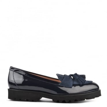 High Track Navy Patent Track Loafer