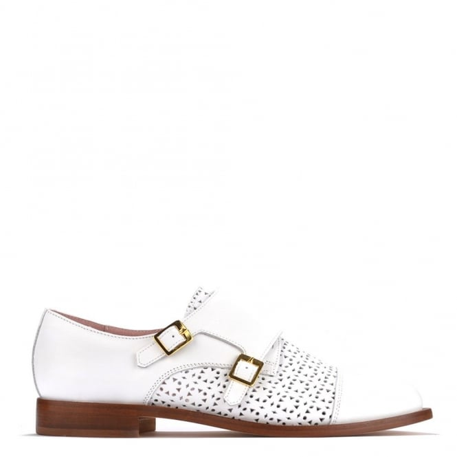 Elia B Shoes Hip Monk White Leather Shoe