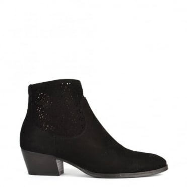 Leonie Black Laser Cut Ankle Boot