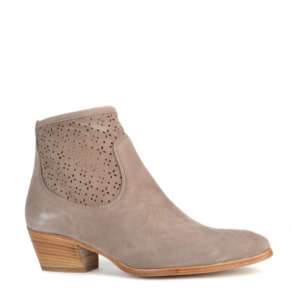 dfb425e2c65b Elia B Shoes Leonie Taupe Laser Cut Ankle Boot