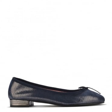 Lidia Blue and Silver Ballet Flat