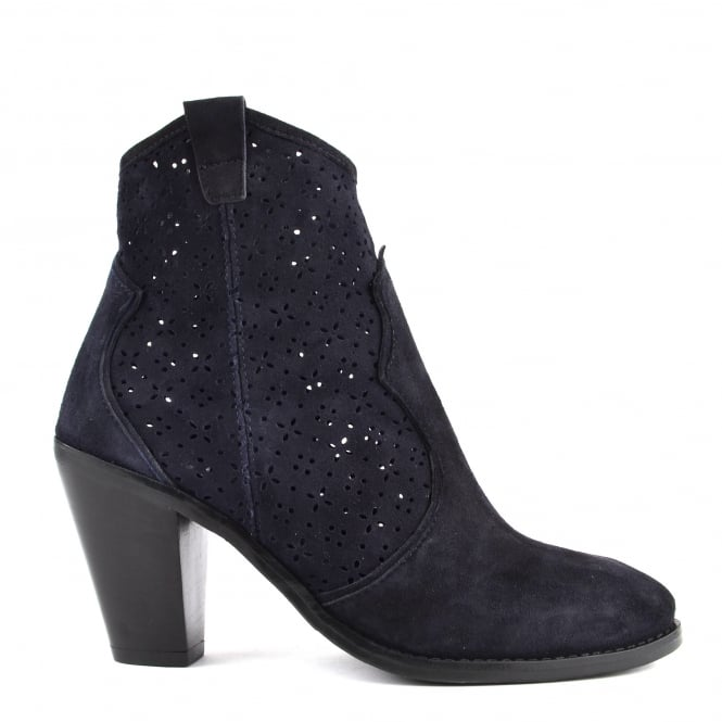 Elia B Shoes Lila Navy Suede Laser Cut Ankle Boot
