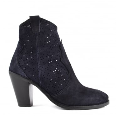 Lila Navy Suede Laser Cut Ankle Boot