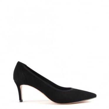 Louise Black Suede Heeled Pump